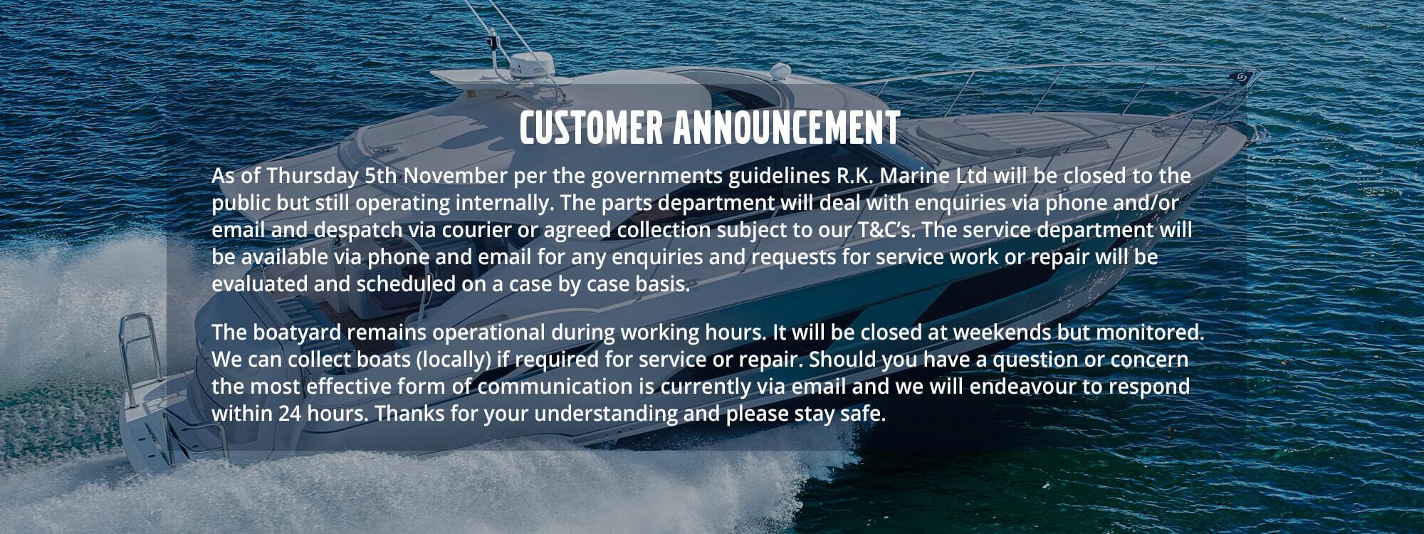 RK Marine Announcement November